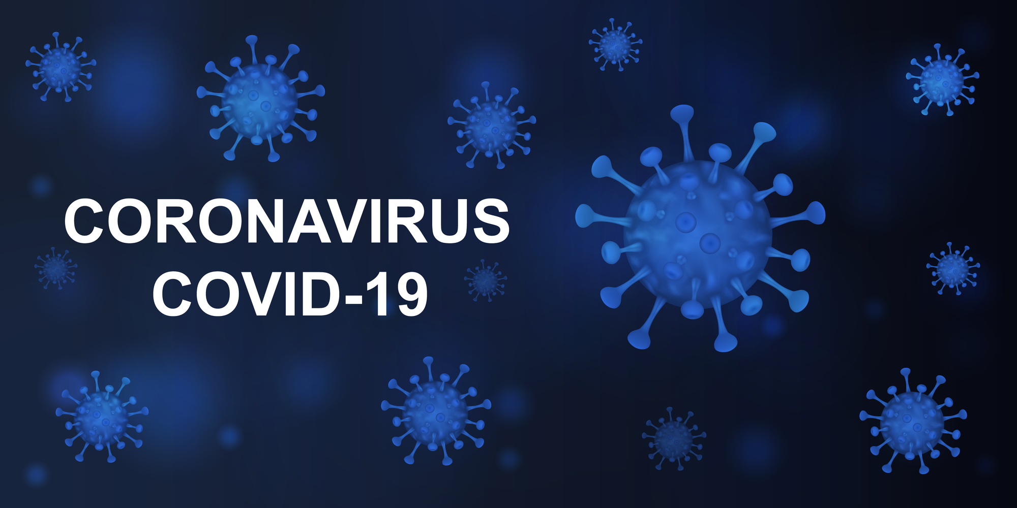 Illustration of a coronavirus on a dark blue background